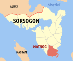 Map of Sorsogon with Matnog highlighted