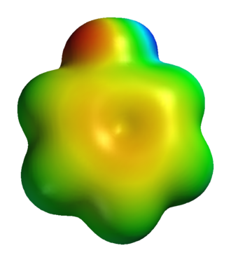 "Phenol - Neutral phenol substructure ""shape"". An image of a computed electrostatic surface of neutral phenol molecule, showing neutral regions in green, electronegative areas in orange-red, and the electropositive phenolic proton in blue."
