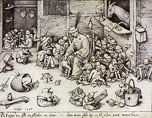 Stupidity - Engraving after Pieter Breughel the Elder, 1556. caption: Al rijst den esele ter scholen om leeren, ist eenen esele hij en zal gheen peert weder keeren (Even if the Ass travels to school to learn, as a horse he will not return)