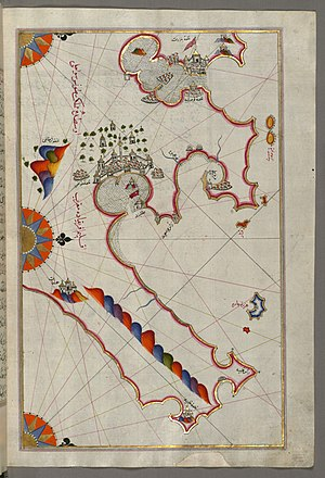 Conquest of Tunis (1534) - Historic map of Tunis by Piri Reis. The Walters Art Museum