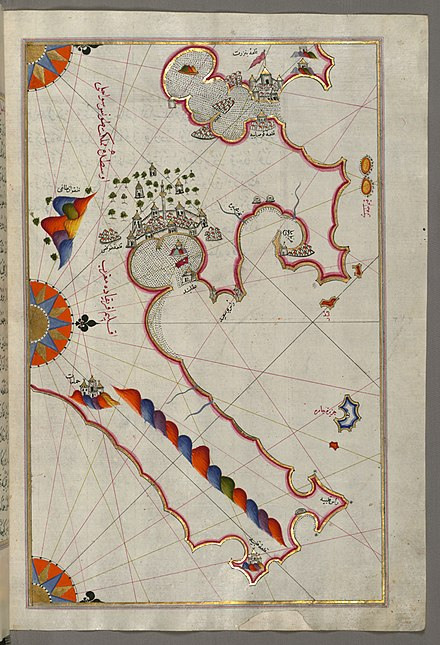 Historic map of Tunis by Piri Reis. The Walters Art Museum. Piri Reis - Map of the Tunisian Coast with the Ports of Bizerte and Tunis as Far as Kelibia - Walters W658279B - Full Page.jpg