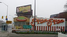 A Pizza Pizza restaurant on Danforth Avenue in Toronto