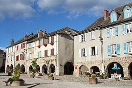 The main square in Sauveterre-de-Rouergue