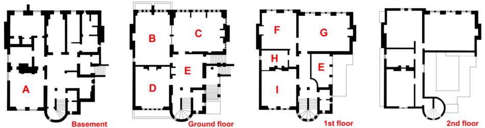 Plan Of The House; A U2013 Kitchen; B U2013 Library; C U2013 Drawing Room; D U2013 Dining  Room; E U2013 Hall; F U2013 Main Bedroom; G U2013 Armoury; H U2013 Bathroom; I U2013 Guest Room.