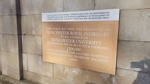 Manchester Royal Infirmary - Plaque on the wall of Manchester Royal Infirmary