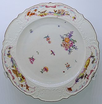 Chelsea porcelain factory - Plate, c. 1755, with three  vignette scenes from Aesop's Fables