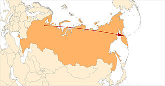 Kura Missile Test Range - The trajectory of the missile flight from Plesetsk Cosmodrome to the Kura Missile Test Range (5700 km)