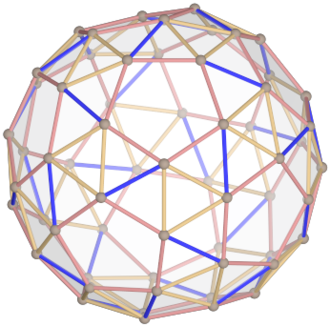 Snub dodecahedron - The snub dodecahedron has no point symmetry, so the vertex in the front does not correspond to an opposite vertex in the back.