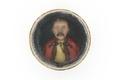 Porträtt i vax av man i gul skjorta med svart snörning, röd rock med svart snörmakeri - Skoklosters slott - 93244.tif