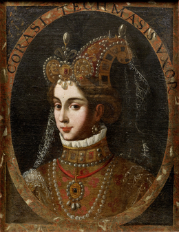 Portrait of Corasi, Sultan Agha Khanum, second wife of Tahmasp I.png