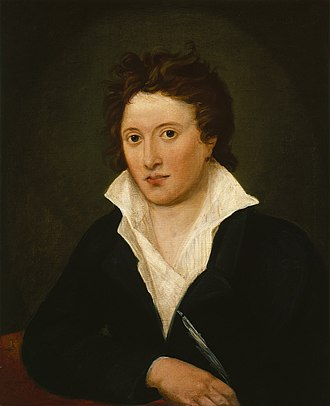 Mary Shelley - Percy Bysshe Shelley was inspired by the radicalism of Godwin's Political Justice (1793). When the poet Robert Southey met Shelley, he felt as if he were seeing himself from the 1790s. (Portrait by Amelia Curran, 1819.)