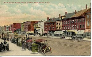 Middletown, Connecticut - Main Street, looking north from City Hall, about 1912