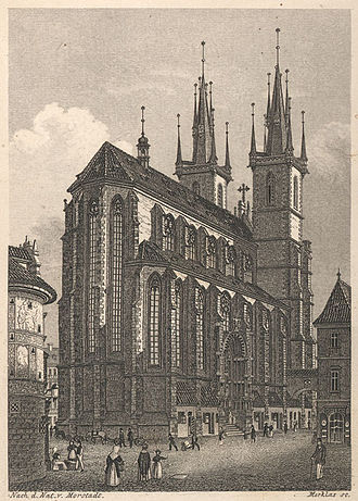 Church of Our Lady before Týn - Church from east, in a print of the 19th century