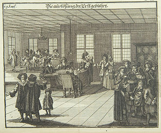 Pidyon haben - Presentation of the First-born (1724), from Juedisches Ceremoniel