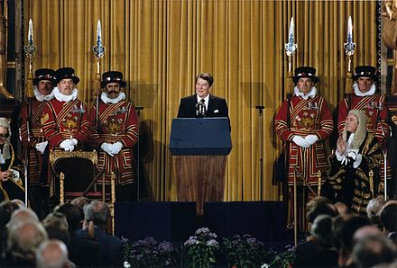 "As the first U.S. president invited to speak before the British Parliament (June 8, 1982), Reagan predicted Marxism would end up on the ""ash heap of history"" President Reagan addressing British Parliament, London, June 8, 1982.jpg"