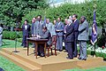 President Ronald Reagan during the signing ceremony for the Fair Housing Amendments Act.jpg