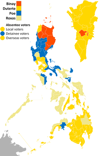 Philippine general election, 2016 - Results of the presidential election per province, denoting the provinces and cities won by each candidate.