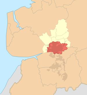 Districts of Preston - Image: Preston (unparished area) locator map