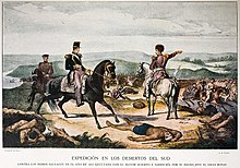 Coloured engraving depicting 3 uniformed men on horseback on a hilltop with dead bodies strewn about and one uniformed man pointing to the valley below in which half-naked warriors are fleeing before a line of uniformed and mounted troops