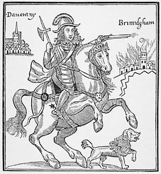 "Battle of Camp Hill - Prince Rupert shown attacking ""Brimidgham"", from the Parliamentarian pamphlet A True Relation of Prince Ruperts Barbarous Cruelty against the Towne of Brumingham"