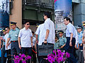 Prisdent Ma and Generals Leaving Review Stand of New Taipei City Plaza 20140906.jpg