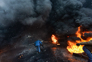 Protesters throwing tires to the fire set by the protesters to prevent internal forces from crossing the barricade line. Kyiv, Ukraine. Jan 22, 2014-3.jpg