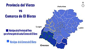 Province of Villafranca - The territory of the Province of Vierzo (Province of Villafranca) compared to the present-day comarca of El Bierzo. The dark blue is the present-day comarca. The gray-blue represents parts of the province that fell outside the present comarca. The light green is territory now in the Province of Ourense (part of the historic region and now autonomous community of Galicia, which formed part of Pascual Madoz's project in the 1850s to recreate the province.
