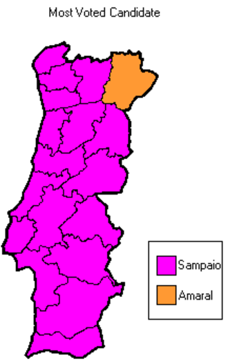 Portuguese presidential election, 2001 - Candidate receiving most votes, per district (Azores and Madeira not shown)