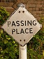 Puddletown - old-fashioned Passing Place sign, Birch Lane - geograph.org.uk - 1343346.jpg