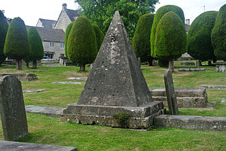 Painswick - Pyramidal tomb of the stonemason John Bryan.