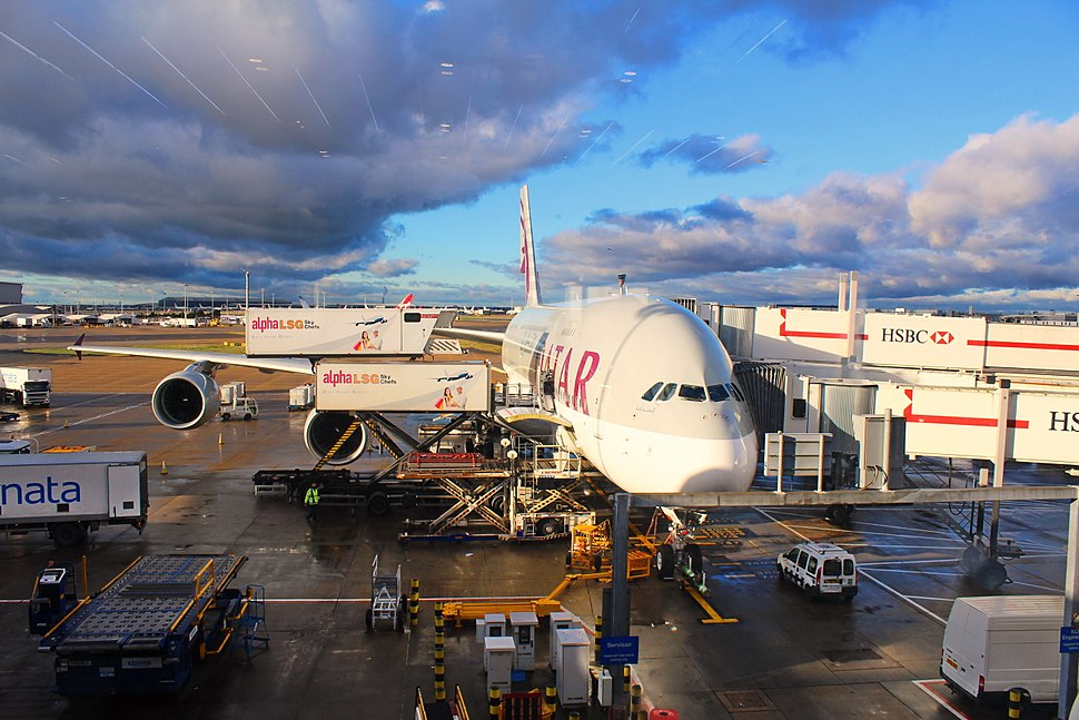Qatar Airways Airbus A380-800 at Heathrow Airport Terminal 4 before Flying to Doha, 6 Jan 2015