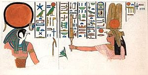 Nebettawy - Nebettawy before the God Horus as depicted in her tomb