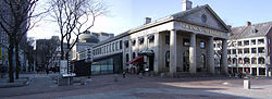 A panoramic view of Quincy Market