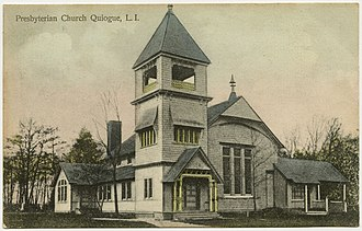 Quiogue, New York - Postcard of the old Quiogue Presbyterian Church
