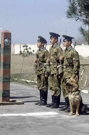 Spetsodezhda - KGB Border Guards ready for patrol wearing the Spetsodezhda with the original khaki furazhka peaked cap.