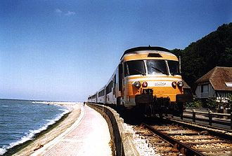 SNCF Class T 2000 - SNCF T2000 in Houlgate on the Deauville-Dives line in 1989.