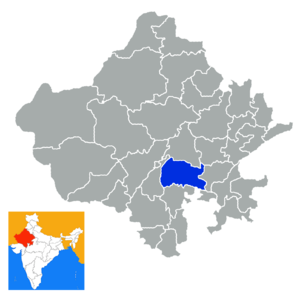 Bhilwara district - Location in Rajasthan