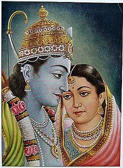 Ram and Sita as a couple (bazaar art, 1950's).jpg
