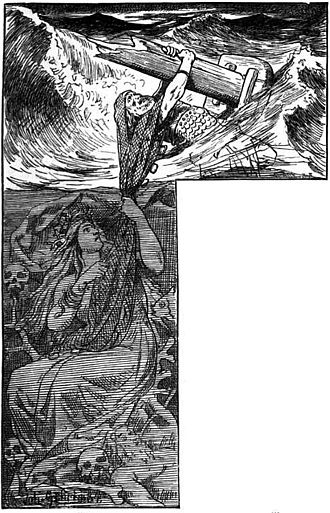 Rán - Rán uses her net to pull a seafarer into the depths in an illustration by Johannes Gehrts, 1901