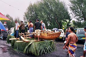 Float parade during the annual Maeva Nui celebrations.