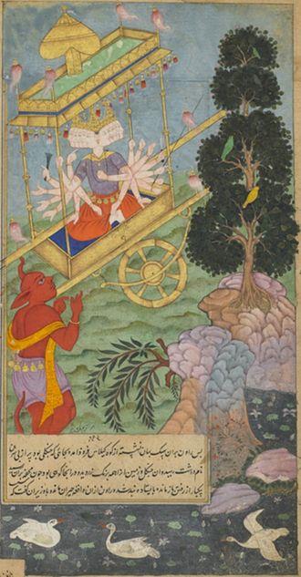 Vimana - Ravana rides his Vimana, Pushpaka.