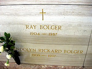 Ray Bolger - Ray and Gwendolyn Bolger's grave at Holy Cross Cemetery, Culver City