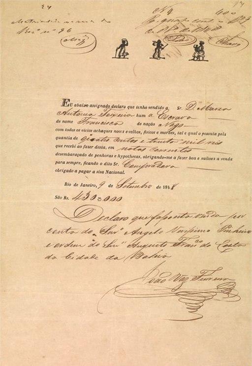 Recibo de venda da escrava nagô Francisca a Maria Antônia Teixeira