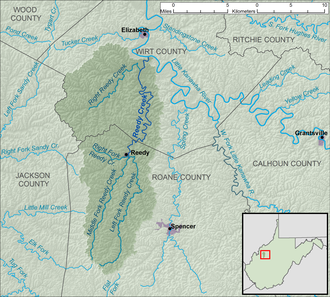 Reedy Creek (West Virginia) - Image: Reedy Creek WV map