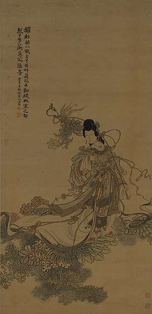 Haipai - This painting portrays the Goddess of the Luo River (洛神) among lush plants in the watery depths of her domain.