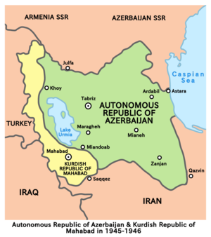 Iran crisis of 1946 - Image: Republic of mahabad and iranian azerbaijan 1945 1946