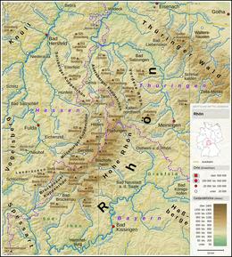 Map Of Germany Mountains.Rhon Mountains Wikipedia