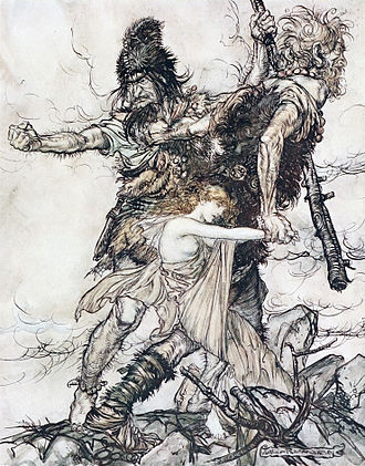 Jötunn - Scene from Richard Wagner's opera Das Rheingold, illustrated by Arthur Rackham (1910). The giants Fasolt and Fafner kidnap  Freia, after Wotan doesn't pay them for building Valhalla.
