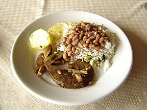 Rice and beans - Rice and brown beans, as served in a hotel in the southeast Brazilian countryside. The dish may be accompanied by meat, bread, eggs, vegetables, etc.