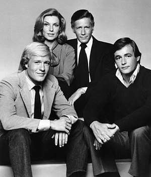 Rich Man, Poor Man Book II - The main characters.  Standing: Maggie Porter and Rudy Jordache.  Seated: Wesley Jordache and Billy Abbott.